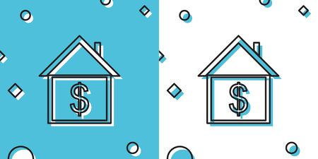 Black House with dollar icon isolated on blue and white background. Home and money. Real estate concept. Random dynamic shapes. Vector Illustration