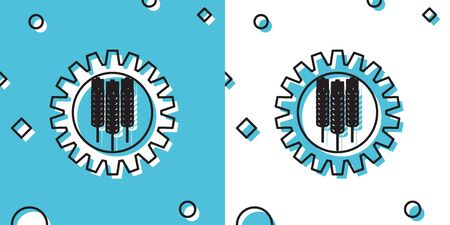 Black Wheat and gear icon isolated on blue and white background. Agriculture symbol with cereal grains and industrial gears. Industrial and agricultural. Random dynamic shapes. Vector Illustration