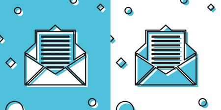 Black Mail and e-mail icon isolated on blue and white background. Envelope symbol e-mail. Email message sign. Random dynamic shapes. Vector Illustration