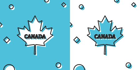 Black Canadian maple leaf with city name Canada icon isolated on blue and white background. Random dynamic shapes. Vector Illustration