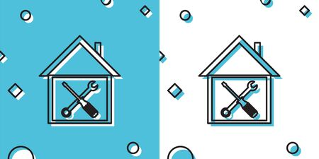 Black House or home with screwdriver and wrench icon isolated on white background. Adjusting, service, setting, maintenance, repair, fixing. Vector Illustration Ilustração