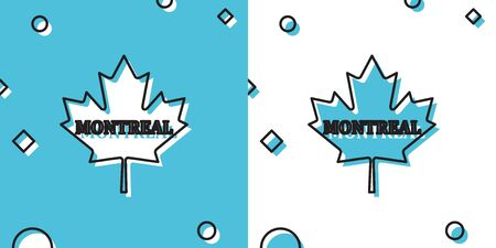 Black Canadian maple leaf with city name Montreal icon isolated on blue and white background. Random dynamic shapes. Vector Illustration
