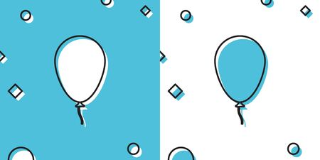 Black Balloon with ribbon icon isolated on blue and white background. Random dynamic shapes. Vector Illustration