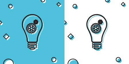 Black Light bulb and gear inside icon isolated on blue and white background. Innovation concept. Random dynamic shapes. Vector Illustration
