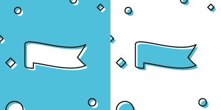 Black Banner ribbon icon isolated on blue and white background. Random dynamic shapes. Vector Illustration