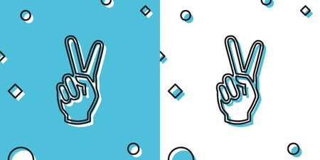 Black Hand showing two finger icon isolated on blue and white background. Victory hand sign. Random dynamic shapes. Vector Illustration