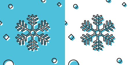 Black Snowflake icon isolated on blue and white background. Random dynamic shapes. Vector Illustration