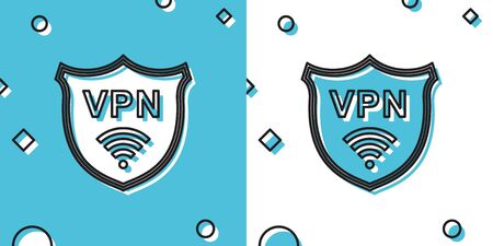 Black Shield with VPN and WiFi wireless internet network symbol icon on blue and white background. VPN protect safety . Virtual private network for security. Random dynamic shapes. Vector Illustration 向量圖像