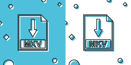 Black MKV file document icon. Download MKV button icon isolated on blue and white background. Random dynamic shapes. Vector Illustration Foto de archivo - 148075314