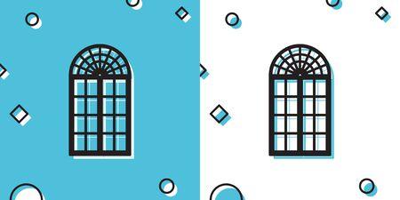 Black Window icon isolated on blue and white background. Random dynamic shapes. Vector Illustration