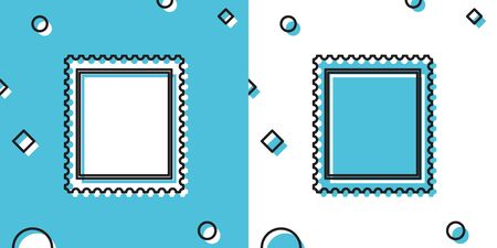 Black Postal stamp icon isolated on blue and white background. Random dynamic shapes. Vector Illustration