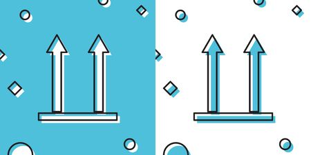 Black This side up icon isolated on blue and white background. Two arrows indicating top side of packaging. Cargo handled so these arrows always point up. Random dynamic shapes. Vector Illustration Illustration