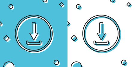 Black Download icon isolated on blue and white background. Upload button. Load symbol. Arrow point to down. Random dynamic shapes. Vector Illustration