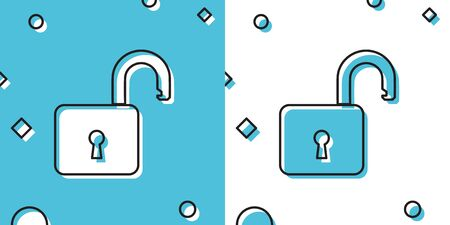 Black Open padlock icon isolated on blue and white background. Opened lock sign. Cyber security concept. Digital data protection. Safety safety. Random dynamic shapes. Vector Illustration Иллюстрация