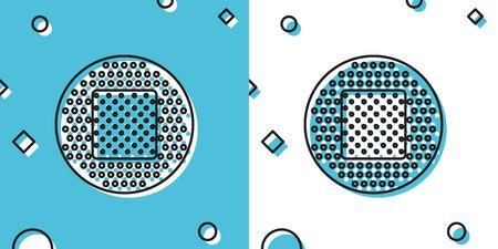 Black Bandage plaster icon isolated on blue and white background. Medical plaster, adhesive bandage, flexible fabric bandage. Random dynamic shapes. Vector Illustration
