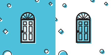 Black Closed door icon isolated on blue and white background. Random dynamic shapes. Vector Illustration