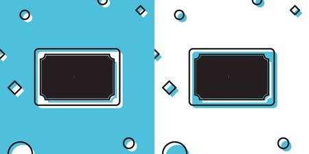 Black Doormat with the text Welcome icon isolated on blue and white background. Welcome mat sign. Random dynamic shapes. Vector Illustration Illustration