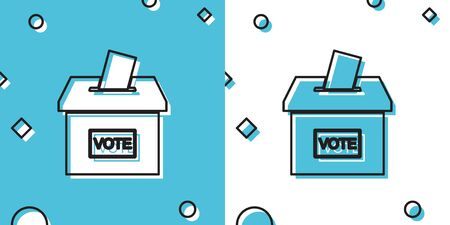 Black Vote box or ballot box with envelope icon isolated on blue and white background. Random dynamic shapes. Vector Illustration