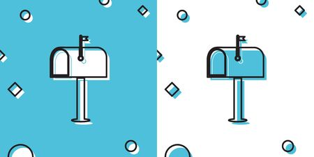 Black Mail box icon isolated on blue and white background. Mailbox icon. Mail postbox on pole with flag. Random dynamic shapes. Vector Illustration