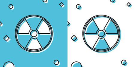 Black Radioactive icon isolated on blue and white background. Radioactive toxic symbol. Radiation Hazard sign. Random dynamic shapes. Vector Illustration