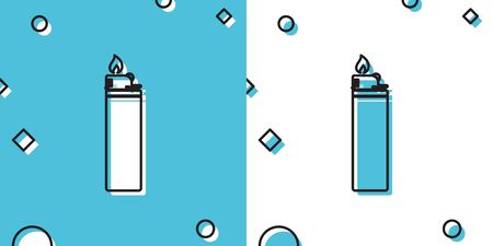 Black Lighter icon isolated on blue and white background. Random dynamic shapes. Vector Illustration