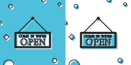 Black Hanging sign with text Come in were open icon isolated on blue and white background. Business theme for cafe or restaurant. Random dynamic shapes. Vector Illustration
