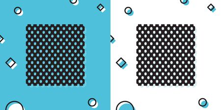Black Chain Fence icon isolated on blue and white background. Metallic wire mesh pattern. Random dynamic shapes. Vector Illustration