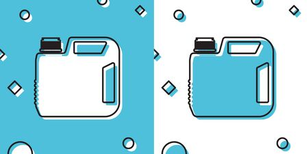Black Plastic canister for motor machine oil icon isolated on blue and white background. Oil gallon. Oil change service and repair. Engine oil sign. Random dynamic shapes. Vector Illustration