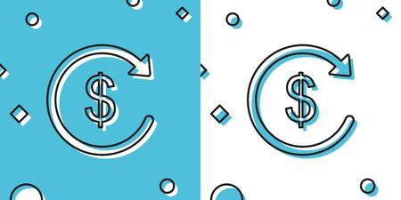 Black Refund money icon isolated on blue and white background. Financial services, cash back concept, money refund, return on investment, savings account, currency exchange. Vector Illustration