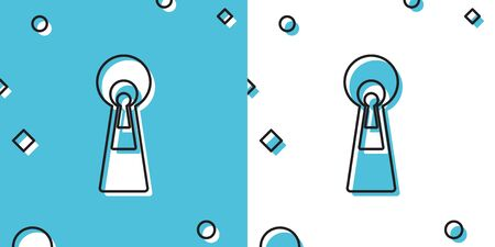 Black Keyhole icon on blue and white background. Key of success solution, business. Keyhole express the concept of riddle, secret, peeping, safety, security. Random dynamic shapes. Vector Illustration  イラスト・ベクター素材
