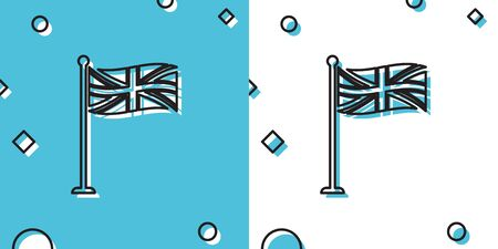 Black Flag of Great Britain on flagpole icon isolated on blue and white background. UK flag sign. Official United Kingdom flag sign. British symbol. Random dynamic shapes. Vector Illustration