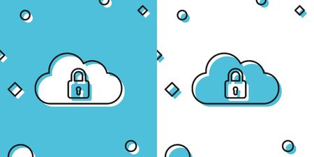 Black Cloud computing lock icon isolated on blue and white background. Security, safety, protection concept. Random dynamic shapes. Vector Illustration