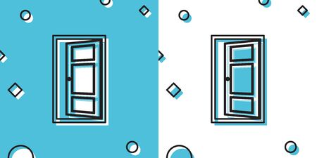 Black Open door icon isolated on blue and white background. Random dynamic shapes. Vector Illustration