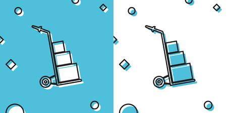 Black Hand truck and boxes icon isolated on blue and white background. Dolly symbol. Random dynamic shapes. Vector Illustration