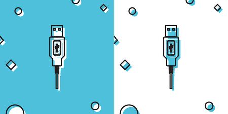 Black USB cable cord icon isolated on blue and white background. Connectors and sockets for PC and mobile devices. Computer peripherals connector or smartphone recharge supply. Vector Illustration