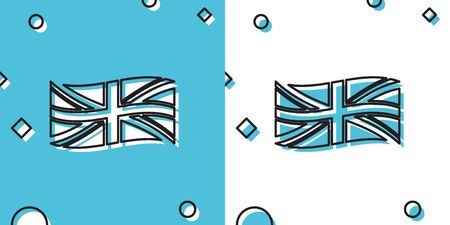 Black Flag of Great Britain icon isolated on blue and white background. UK flag sign. Official United Kingdom flag sign. British symbol. Random dynamic shapes. Vector Illustration