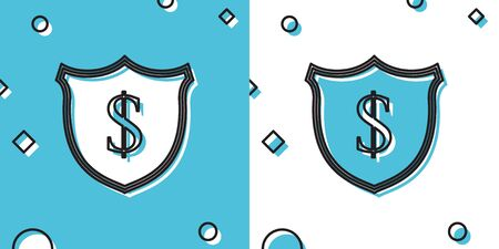 Black Shield and dollar icon isolated on blue and white background. Security shield protection. Money security concept. Random dynamic shapes. Vector Illustration