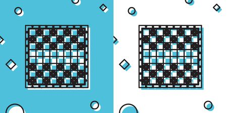 Black Board game of checkers icon isolated on blue and white background. Ancient Intellectual board game. Chess board. White and black chips. Random dynamic shapes. Vector Illustration