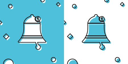 Black Bell icon isolated on blue and white background. New Notification icon. New message icon. Random dynamic shapes. Vector Illustration