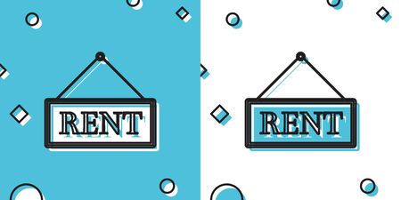 Black Hanging sign with text Rent icon isolated on blue and white background. Random dynamic shapes. Vector Illustration Vectores
