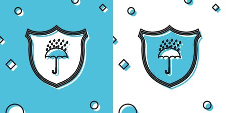 Black Waterproof icon isolated on blue and white background. Shield and umbrella. Protection, safety, security concept. Water resistant symbol. Random dynamic shapes. Vector Illustration