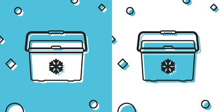Black Cooler bag icon isolated on blue and white background. Portable freezer bag. Handheld refrigerator. Random dynamic shapes. Vector Illustration