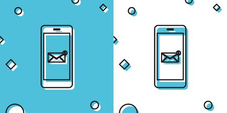 Black Received message concept. New email notification on the smartphone screen icon isolated on blue and white background. New message on the phone screen. Mail delivery service. Vector Illustration  イラスト・ベクター素材
