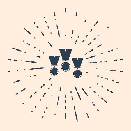 Black Medal set icon isolated on beige background. Winner simbol. Abstract circle random dots. Vector Illustration