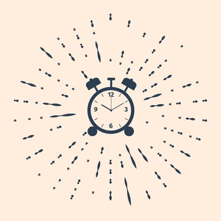Black Alarm clock icon isolated on beige background. Wake up, get up concept. Time sign. Abstract circle random dots. Vector Illustration 向量圖像