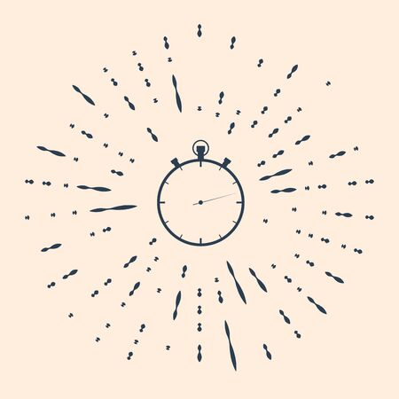 Black Stopwatch icon isolated on beige background. Time timer sign. Abstract circle random dots. Vector Illustration