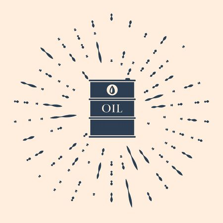 Black Oil barrel icon isolated on beige background. Oil drum container. For infographics, fuel, industry, power, ecology. Abstract circle random dots. Vector Illustration