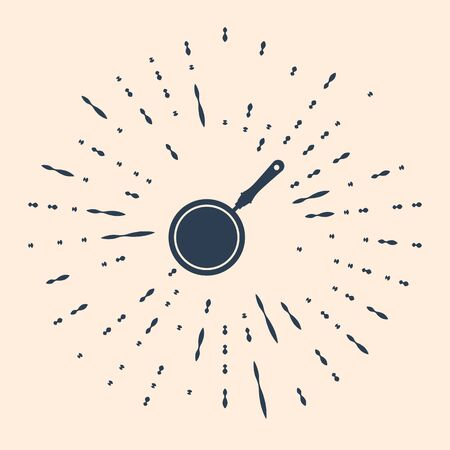 Black Frying pan icon isolated on beige background. Abstract circle random dots. Vector Illustration 向量圖像