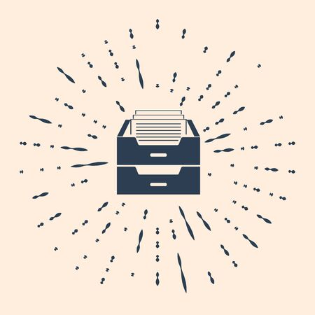 Black Drawer with documents icon isolated on beige background. Archive papers drawer. File Cabinet Drawer. Office furniture. Abstract circle random dots. Vector Illustration Archivio Fotografico - 150397236