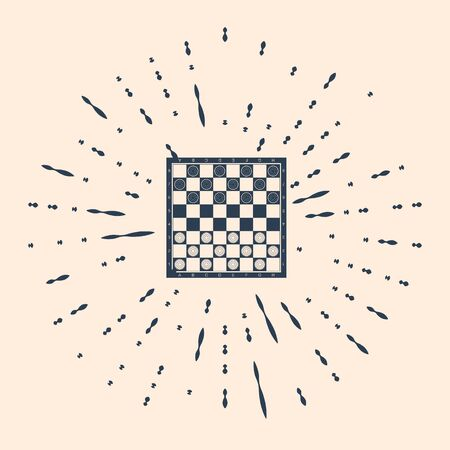 Black Board game of checkers icon isolated on beige background. Ancient Intellectual board game. Chess board. White and black chips. Abstract circle random dots. Vector Illustration